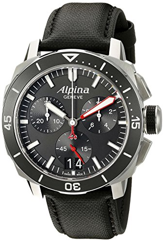 Alpina-Mens-AL-372LBG4V6-Seastrong-Diver-300-Chronograph-Big-Date-Analog-Display-Swiss-Quartz-Black-Watch