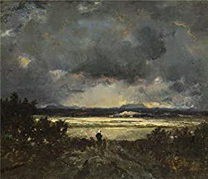 Perfect effect canvas ,the Beautiful Art Decorative Canvas Prints of oil painting 'Thodore Rousseau Sunset in the Auvergne ', 16 x 19 inch / 41 x 47 cm is best for Kitchen gallery art and Home decoration and Gifts