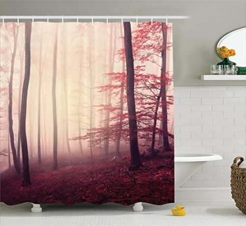 Fall Shower Curtain Set Woodland Decor By Ambesonne, Fantasy Marsala Color Foggy Forest Jungle Dreamy Wilderness Woods Sunlight, Bathroom Accessories, with Hooks, 69W X 70L Inches, Red Burgundy