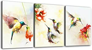 Hummingbird Wall Art Painting Modern Canvas Prints Bird Picture for wall Stretched Ready to Hang for Home Decoration 12x16inchx3panels