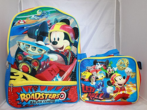 School Lunch Set (Disney Mickey Mouse Boys School Backpack Lunch Box SET Book Bag Kids)