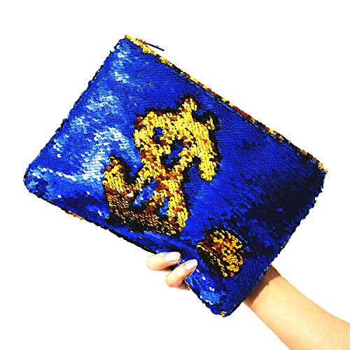 Dazzling Mermaid Sequin Cosmetic Bag Bling Clutch Handbag Women Wallet Purse Evening Party Bags for Gilr (Sapphire)