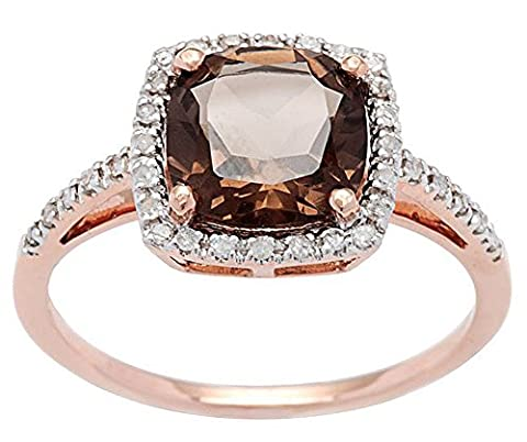 10k Rose Gold Cushion Smoky Quartz and Diamond Halo Ring (Chocolate Diamond Rose Gold Band)