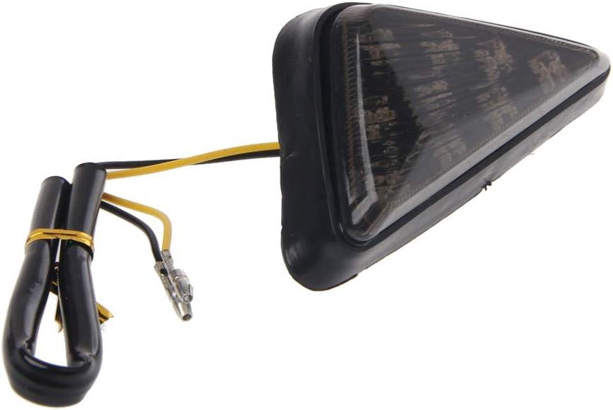 Forgun 1 par de intermitentes triangulares para motocicleta con 9 luces LED ahumadas