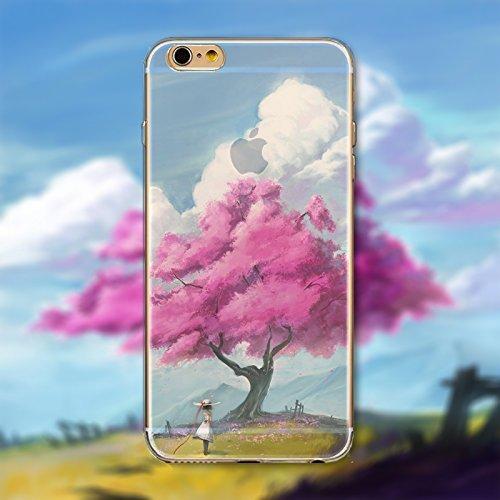 Coque iPhone 5 5s Housse étui-Case Transparent Liquid Crystal en TPU Silicone Clair,Protection Ultra Mince Premium,Coque Prime pour iPhone 5 5s-Paysage-style 24
