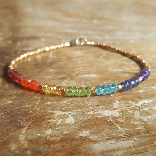 JP_Beads Chakra Bracelet Chakra Bracelets Chakra Beaded Bracelet Womens Gift Mens Citrine Apatite Peridot Garnet Amethyst Iolite Birthday Gift Gifts 3.5-4mm