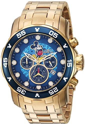 Invicta Men's Disney Limited Edition Quartz Watch with Stainless Steel Strap, Gold, 19 (Model: 23766)
