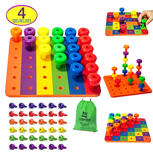 Patterned Stacking Peg Board Set Toy | Montessori Occupational Therapy Early Learning For Fine Motor Skills, Ideal for Toddlers and Preschooler, Includes 36 Plastic Pegs & 2 Boards, 4 Sides | Storage (Fine Motor Therapy)