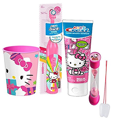 "Hello Kitty Inspired 4pc Bright Smile Oral Hygiene Set! Turbo Spin Toothbrush, Toothpaste, Brushing Timer & Mouthwash Rinse Cup! Plus Bonus ""Remember to Brush"" Visual Aid!"