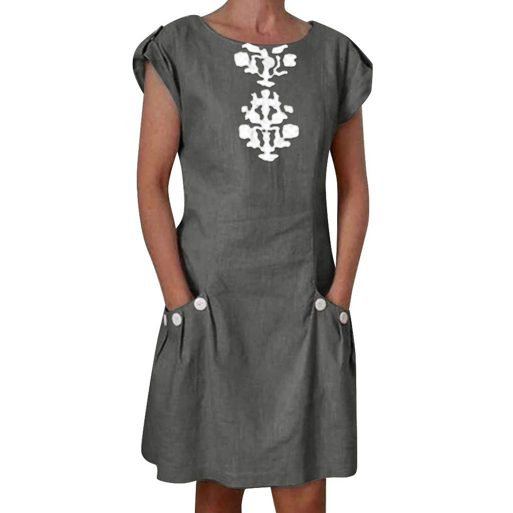 wodceeke Womens Casual Linen Dress Buttoned Decor Zipper Back Loose Mini Dresses with Pockets