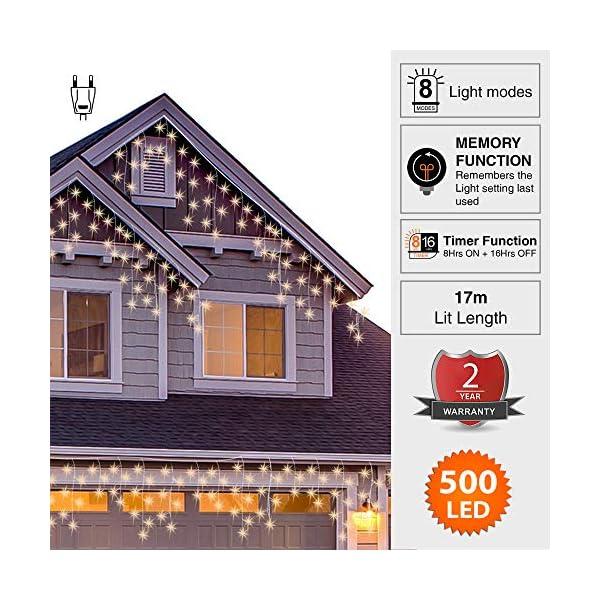 500 LED Tenda luminosa, Luci natalizie per interni e esterni,bianco Caldo con 8 modalità luce/timer, Memoria, trasformatore incluso, 17 M lunghezza- Cavo transparente 3 spesavip