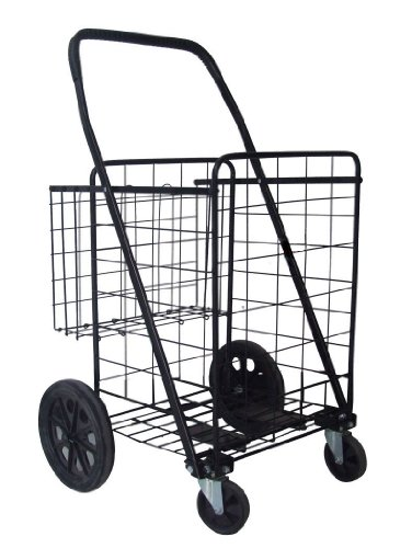 Black Heavy Duty Jumbo Folding Shopping Cart Metal