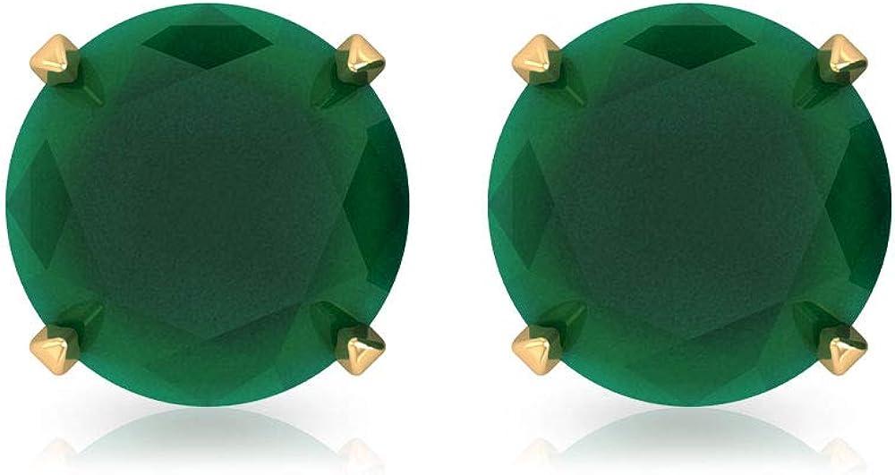 Pendientes de tuerca de ónix verde, de 0,8 quilates, con piedras preciosas redondas, para novia, boda, simple, para dama de honor, oro de 14 quilates, 14K Oro amarillo, Par
