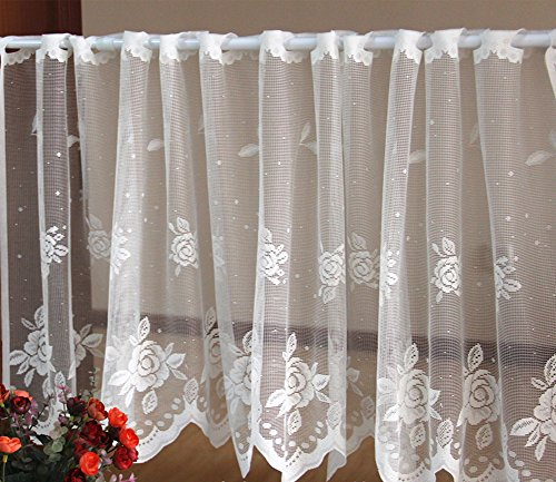 XIULIHUI Handmade White Lace Embroidery Pastoral Style Floral Window Valance, Kitchen Curtain, Cafe Curtain, Dining Room Curtain,18 x 60inch