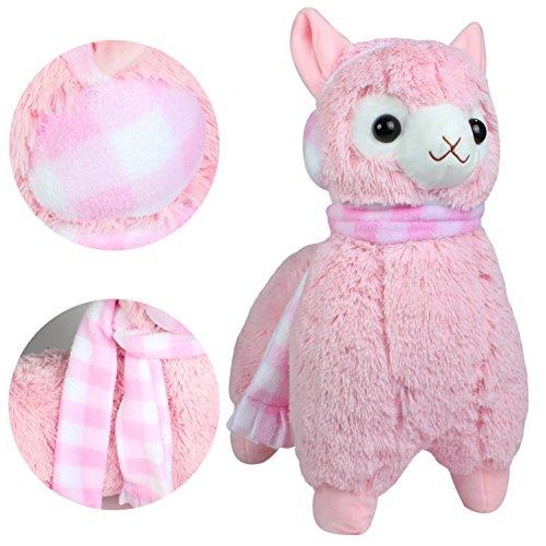 Alpacasso 17 Pink Plush Alpaca, Cute Stuffed Animals Toys.(Scarf and Earmuff)