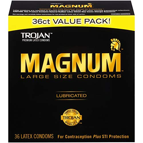 Trojan Magnum Lubricated Latex Condoms - MAGNUM Large Size Condoms, 36ct