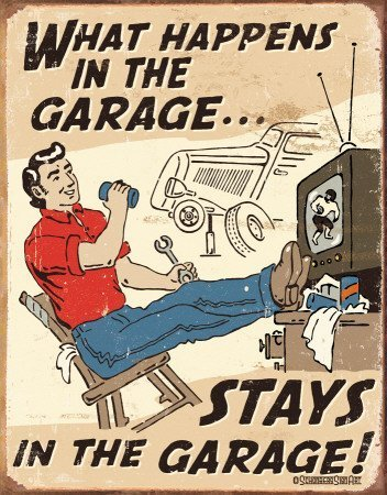 UNiQ Designs 'WHAT HAPPENS IN THE GARAGE… STAYS IN THE GARAGE' 8 x 12 inch retro vintage wall décor tin sign