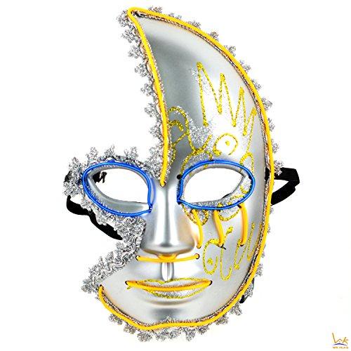 Two Face Costume Mens (Horror Venetian Sparkle Halloween Half Face Mask - 2 Color LED Festival Costume)