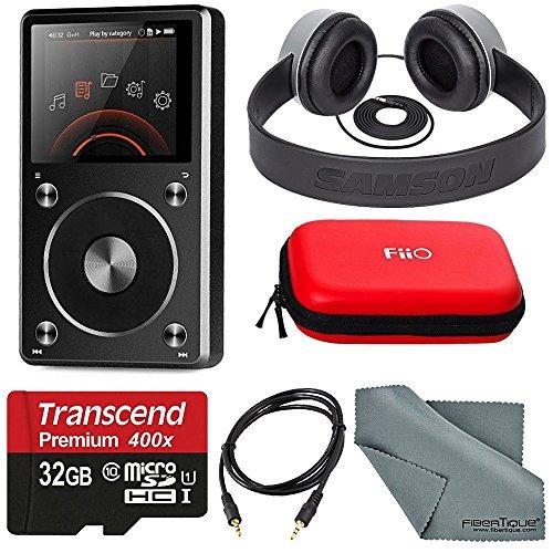 FiiO X5 Portable High Resolution Lossless Music Player and DAC with Samson SR 450 Studio Headphones and Accessory Bundle