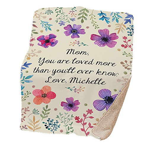 GiftsForYouNow Personalized Floral Sherpa Throw Blanket, 37