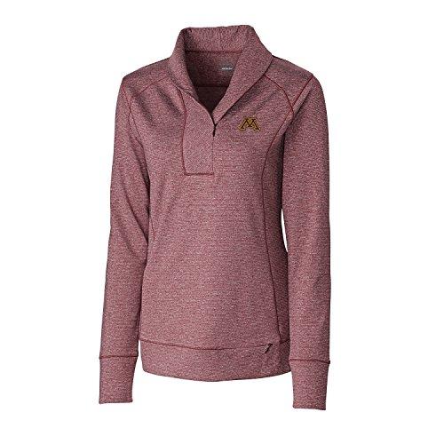 Cutter & Buck NCAA Minnesota Golden Gophers Women's Shoreline Half Zip Jacket, Medium, Bordeaux Heather ()