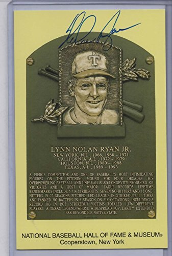NOLAN RYAN AUTOGRAPHED HALL OF FAME GOLD PLAQUE CARD