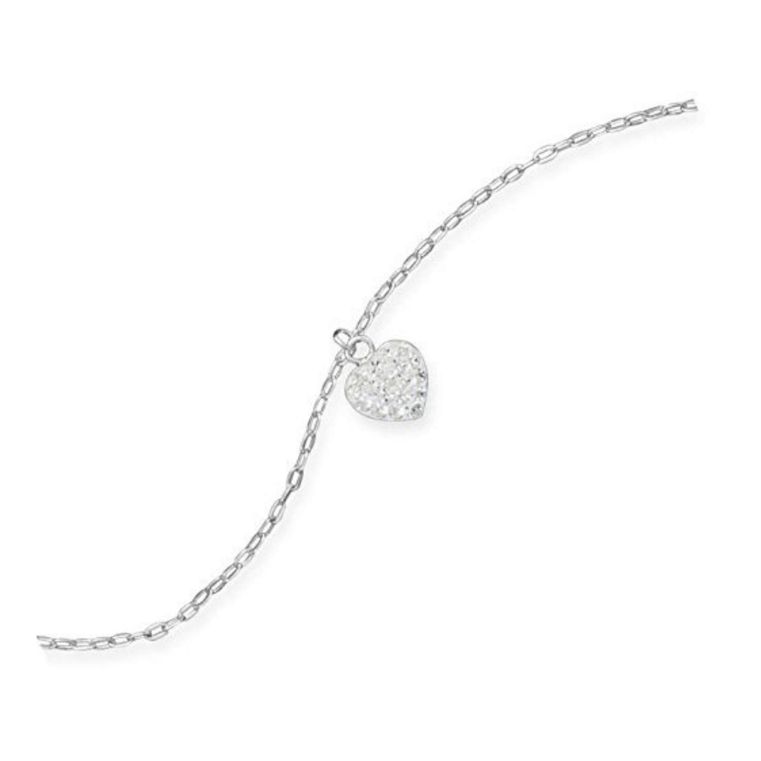 9 1 Crystal Heart Charm Anklet Womens Ankle Bracelet Anklet Fashion Jewelry Sterling Silver