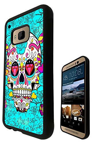 Sugar Skull Skulls Multi tattoo Diamond eye Design htc One M9 Fashion Trend SILICONE GEL RUBBER CASE COVER Full Sides and top Case