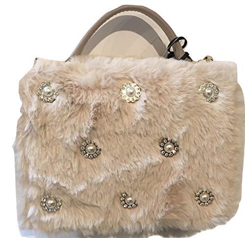Kate Spade Cedar Road Maisie Faux Fur Crossbody Handbag Beige