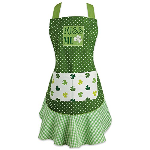 DII Cotton St. Patrick's Day Kitchen Apron with Pocket and Extra Long Ties, 29.5 x 24