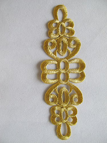 5-5/8'' Gold Trim Fringe Boho Art Deco Sew Embellishment Applique Patch by ade_patch