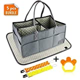 Baby Diaper Caddy + Changing Pad, Teething Toy & Pacifier Clips | Newborn Registry Must Haves Boy Girl | Large Tote Bag | Nursery Storage Bin for Changing Table | Portable Car Travel Organizer (Gray)