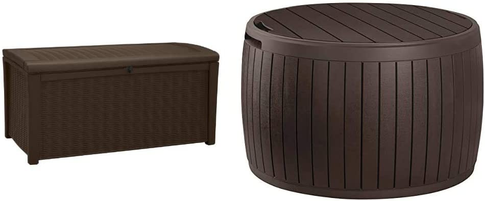 Keter Borneo 110 Gallon Resin Deck Box-Organization and Storage for Patio Furniture Outdoor Cushions, Throw Pillows & Circa 37 Gallon Round Deck Box, Patio Table for Outdoor Cushion Storage, Brown
