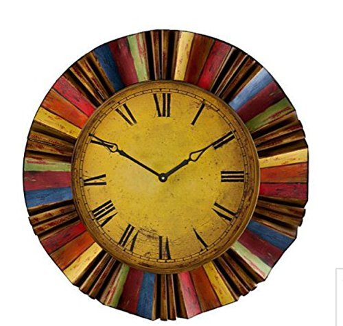 Artistic Vintage Style Multi Color Metal and Wooden Clock Wall