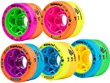 Reckless MORPH Quad Indoor Roller Derby Speed Skate Dual Durometer Wheels 8 Pk. (Orange/Yellow - Pink Hub (88A/91A))
