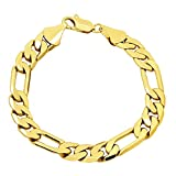 Thick 10mm Yellow Gold Plated Beveled Figaro Link Chain Bracelet + Microfiber Jewelry Polishing Cloth