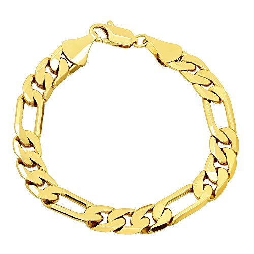 Thick 10mm Yellow Gold Plated Beveled Figaro Link Chain Bracelet, 8