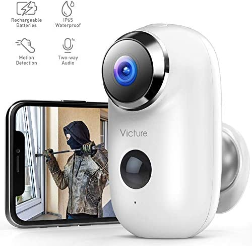 Victure 1080P Outdoor Camera Wireless Rechargeable Battery Powered Home Security WiFi Camera with IP65 Waterproof PIR Motion Detection 2-Way Audio and Night Vision Cloud Storage SD Slot