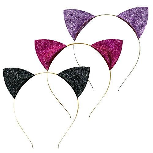 Black & Pink Cat Ears Headband (P's-JAPAN Cat Ear Glitter Headbands 3Pieces (Black, Pink and Purple))