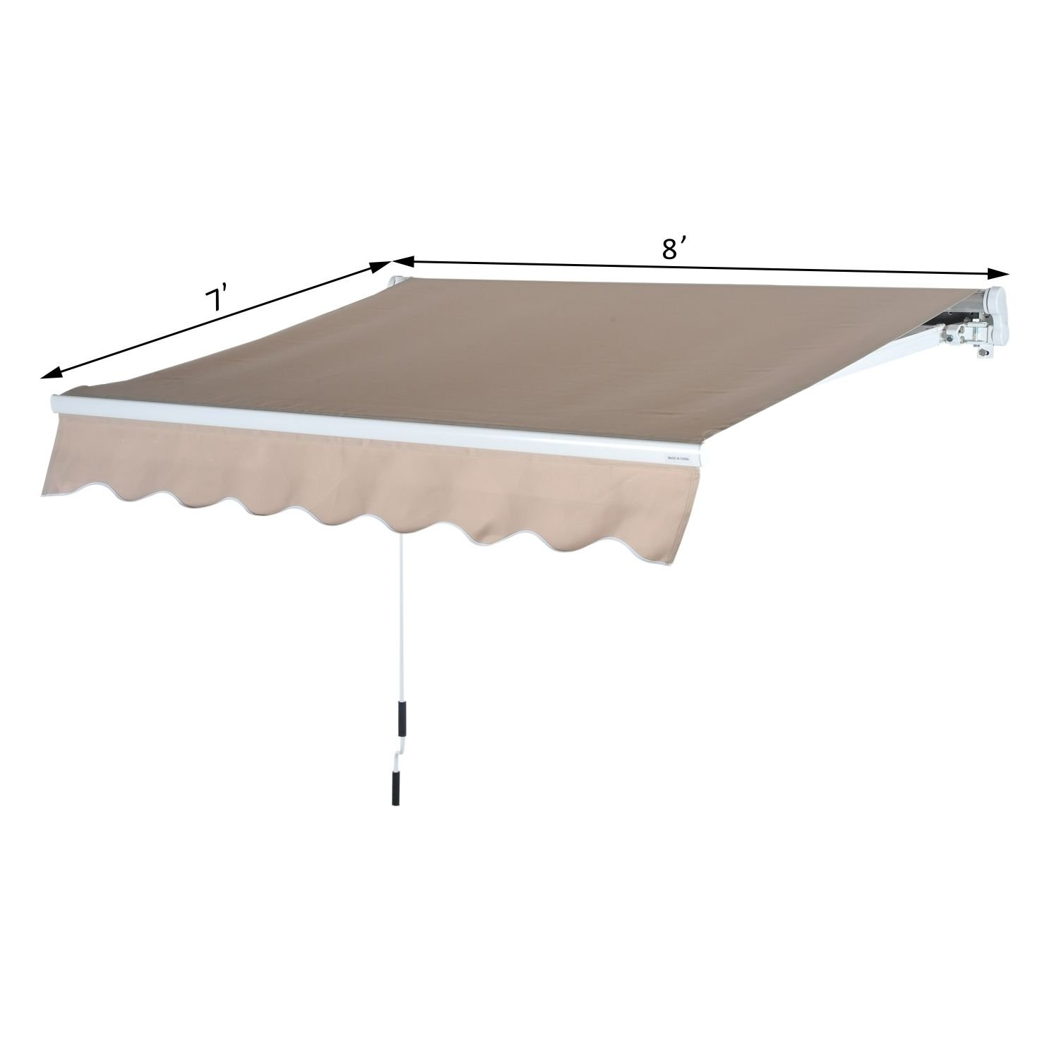 Outsunny 8' x 7' Patio Manual Retractable Sun Shade Awning - Cream by Outsunny (Image #6)