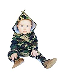 Sumen Baby Boys Girls Camouflage Hooded Romper Jumpsuit Clothes Outfit