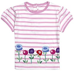 JoJo Maman Bebe Blossom T-Shirt (Baby)-Pink/White-12-18 Months