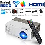 Pocket Bluetooth Wifi Projector 1500 Lumens, Support 1080p Full HD HDMI Built-in Speaker Airplay Screen Mirror, Portable Mini Wireless Home Theater Video Projector for Gaming Basement Movie