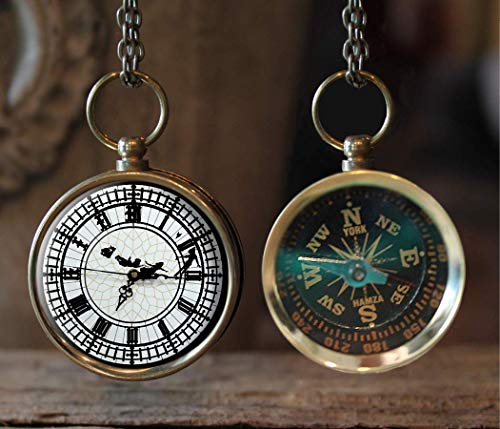 Peter Pan Clock Compass Necklace, Great Gift Idea, Christmas gift, stocking stuffer