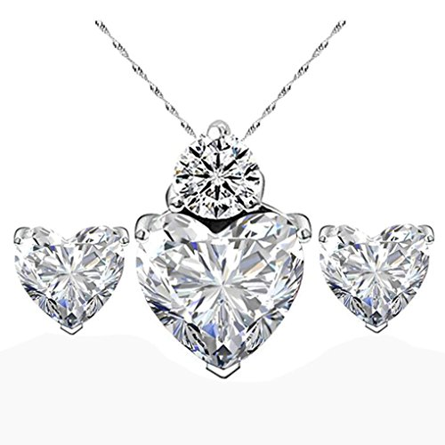 Women White Heart Crystal Jewelry Sets Wedding Necklace Earring Sets by (Crystal Cross Choker Necklace)