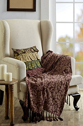 Rustic & Lodge Pillows & Throws - Berkeley Red Chenille Jacquard Woven