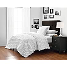White Queen Size 3-Piece Ruched Duvet Cover Set with 1pc Duvet Insert Value Bedding Set By Cozy Beddings