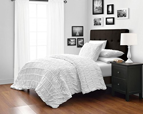 White King/Cal-king Size 3-Piece Ruched Duvet Cover Set with 1pc Duvet Insert Value Bedding Set By Cozy Beddings