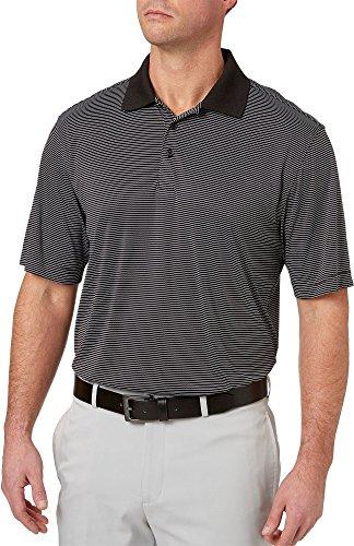 Slazenger Men's Core Mini Stripe Golf Polo (Black, X-Large) Black Mini Stripe Polo