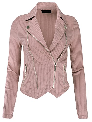 Ladies' Code Mutli Zipper Detail Rib Fitted Jacket Khaki L - Apparel Mutli